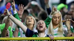 Press Eye - Belfast - Northern Ireland - 14th October 2018 - Photo by William Cherry/Presseye Northern Ireland fans during the UEFA Nations League game against Bosnia & Herzegovina at the Stadion Grbavica, Sarajevo.