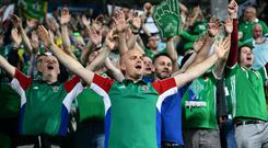 N Ireland Fans in Sarajevo, for Northern Ireland's UEFA Nations League match at the Grbavica Stadium in Bosnia. Photo Colm Lenaghan/Pacemaker Press
