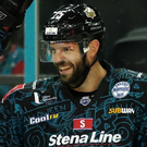 On a roll: Belfast Giants captain Blair Riley (right) celebrates scoring in their 6-1 win over the Nottingham Panthers on Sunday