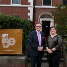 President and Vice Chancellor of Queen's University Professor Ian Greer, with Head of QFT Joan Parsons at the opening night of QFT50 which celebrates 50 years of the Queen's Film Theatre in Belfast.