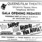 QFT opening night advert, 1968