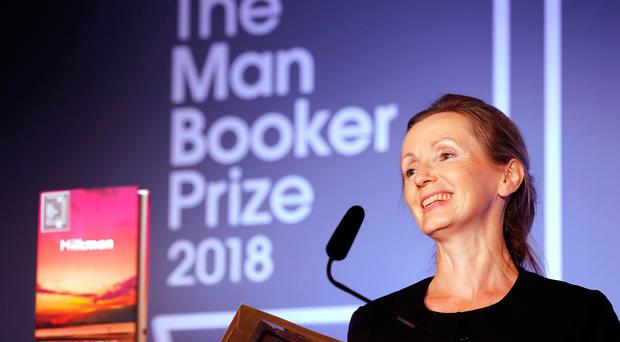 Anna Burns on stage at the Guildhall in London after she was awarded the Man Booker Prize for Fiction for her novel Milkman. Pic: Frank Augstein/PA Wire