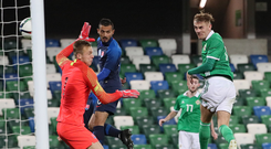 Hitting heights: Mark Sykes rises to head home for U21s