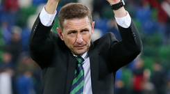 Windsor pride: Northern Ireland Under-21 chief Ian Baraclough thanks the fans for their support last night