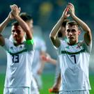 Northern Ireland's Gavin Whyte applauds the fans after defeat in Sarajevo.