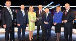 The presidential candidates ahead of the debate (Brian McEvoy/PA)