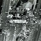 Aerial view of the scene of an IRA van bomb explosion at the Army post on the border at Newry which killed one British soldier and injured several others. 01/05/92