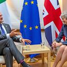 Leo Varadkar and Theresa May (Irish government/PA)