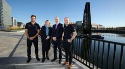 Pictured at the launch, from left, Artemis Technologies Chief Executive, double Olympic gold medalist Iain Percy OBE, Northern Ireland Secretary of State Rt Hon Karen Bradley MP, Belfast Harbour CEO Joe O'Neill and Mark Gillan, Head of Innovation, Artemis Technologies.