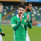 Liam Donnelly thanks the 5,462 fans who turned up to watch Northern Ireland U21s' final match of their qualifying campaign.