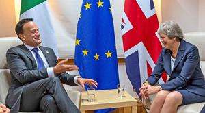 Leo Varadkar and Prime Minister Theresa May held a bilateral meeting (Taoiseach Government/PA)