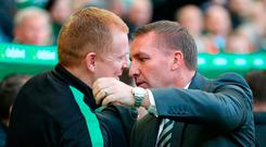 Ready for battle: Neil Lennon and Brendan Rodgers will face off at Celtic Park on Saturday