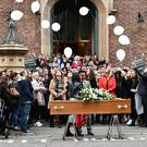 Family and friends during the funeral of Mairead O'Neill at St Malachy's Church, Belfast on Friday. The talented model, who had been working in the industry for more than six years, died on Monday night. Police are not treating her death as suspicious. Pic Colm Lenaghan/Pacemaker