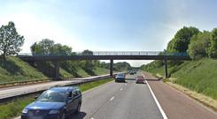 A section of the M1 near to where the banner was hung / Credit: Google Maps