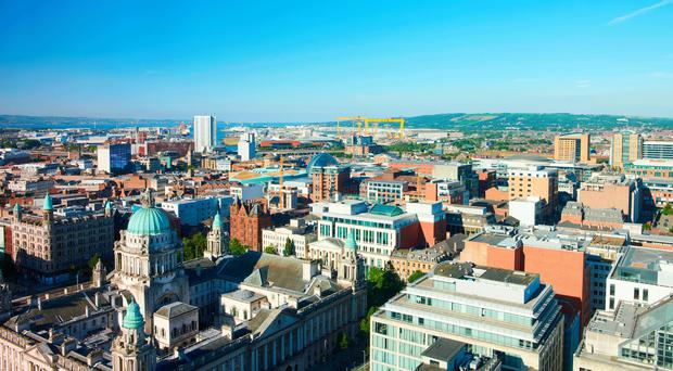Cityscape: the spectacular view from Grand Central Hotel over Belfast