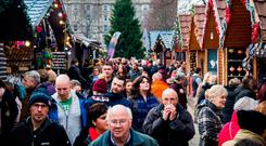 Crowds at last year's Christmas continental market outside Belfast City Hall