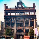 The burnt-out shell of Bank Buildings