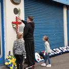 Pacemaker Press 20/10/2018 Local Football Clubs during a memorial service to mark the 25th anniversary of the Shankill Bombing on Saturday. Nine Protestant civilians and an IRA bomber, Thomas Begley, were killed in the attack in Belfast on 23 October 1993. Pic Colm Lenaghan /Pacemaker Press