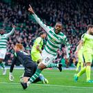 Celtic's Olivier Ntcham celebrates scoring his side's second goal of the game during the Ladbrokes Scottish Premiership match at Celtic Park, Glasgow. Photo credit: Robert Perry/PA Wire.