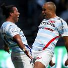 Simon Zebo (right) celebrates with Racing 92 team-mate Teddy Thomas in their win over Ulster