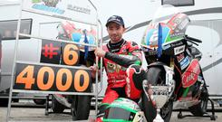 Thoughtful: Glenn Irwin donated his £4,000 Sunflower Trophy winnings to the family of the late William Dunlop, whose racing number was 6