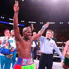 Winner: Tevin Farmer celebrates his win over James Tennyson