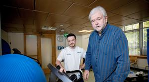Ivan Little working with physio Darragh O'Neill
