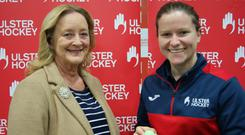 On the ball: Shirley McCay (right), makes the draw for the Belfast Telegraph Senior Schools' Cup with Lynda McIlvenny