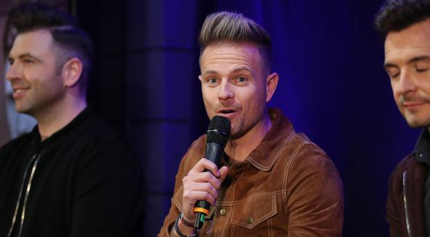Nicky Byrne speaks at the press conference at the SSE Arena (Liam McBurney/PA)