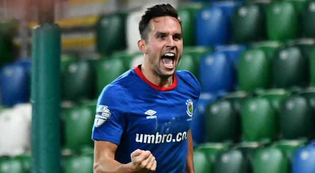 Andy Waterworth missed a penalty but went on to win a tight Big Two derby for Linfield.
