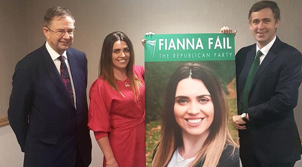 Eamon O'Cuiv TD, left, and Senator Mark Daly with Sorcha McAnespy (Fianna Fail/PA)