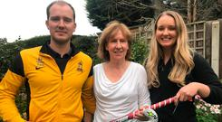 Family values: Jenny with son Steven (33), former Irish international and current Instonians player and daughter Lynsey (29) who plays for CI Ladies