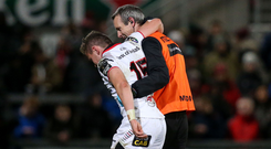 Michael Lowry leaves injured on Saturday evening against the Dragons.