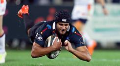 Going over: Gabriele Di Giulio of Zebre scores a try last night