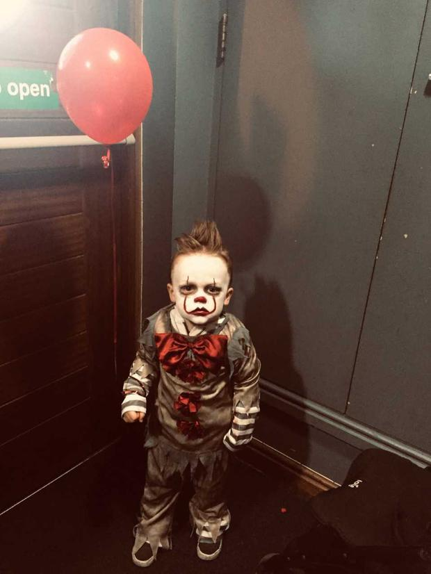 Freddy Hastings (2) from Holywood, dressed as Pennywise from Stephen King's IT