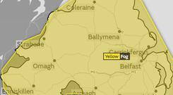 A yellow fog warning has been issued for Northern Ireland / Credit: Google Maps