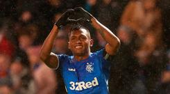First blood: Gers' Alfredo Morelos salutes his goal