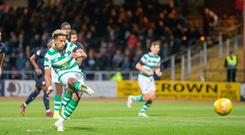 Easy night: Scott Sinclair fires in Celtic's second goal