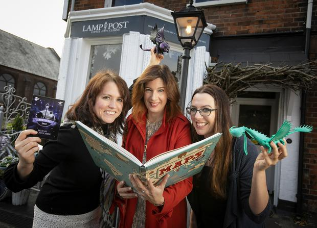 Helping to launch the festival at The Lamp Post Café, one of the festival venues were, from left, festival artists Rachael B Kelly and Myra Zepf along with Festival Director Rachel Kennedy.