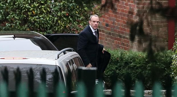 Brexit Secretary Dominic Raab arrives at Stormont House (Brian Lawless/PA)