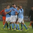 Ballymena United's Johny McMurray celebrated netting the winner.