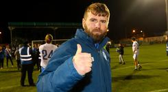 Paddy McCourt celebrates Finn Harps' promotion back to the top flight after the final match on his playing career.