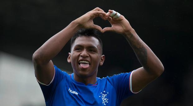 Rangers' Alfredo Morelos celebrates scoring his side's second goal.