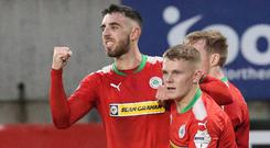 Cliftonville's Joe Gormley celebrates his late winner.