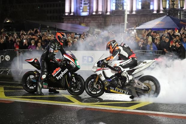 Jeremy McWilliams and Ryan Farquhar at the Red Bull showrun at Belfast City Hall. Photo: Liam McBurney/RAZORPIX