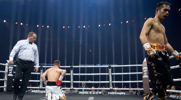 Injury denied Ryan Burnett a chance at victory against Nonito Donaire during their WBA World Championship bout at The SSE Hydro, Glasgow. Pic: Jeff Holmes/PA Wire.
