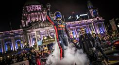 David Coulthard of Scotland seen at the Red Bull F1 Showrun at Belfast City Hall, Northern Ireland on November 3rd, 2018. Photo by Sebastian Marko//Red Bull Contentpool