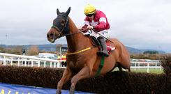 Final hurdle: Road To Respect, ridden by Sean Flanagan, jumps the last fence to win the Down Royal Festival feature race