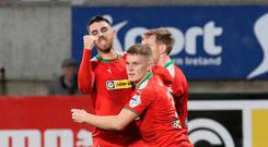 Winning way: Cliftonville's Joe Gormley celebrates his goal