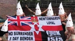 The loyalist banner Barry Good often carries at matches